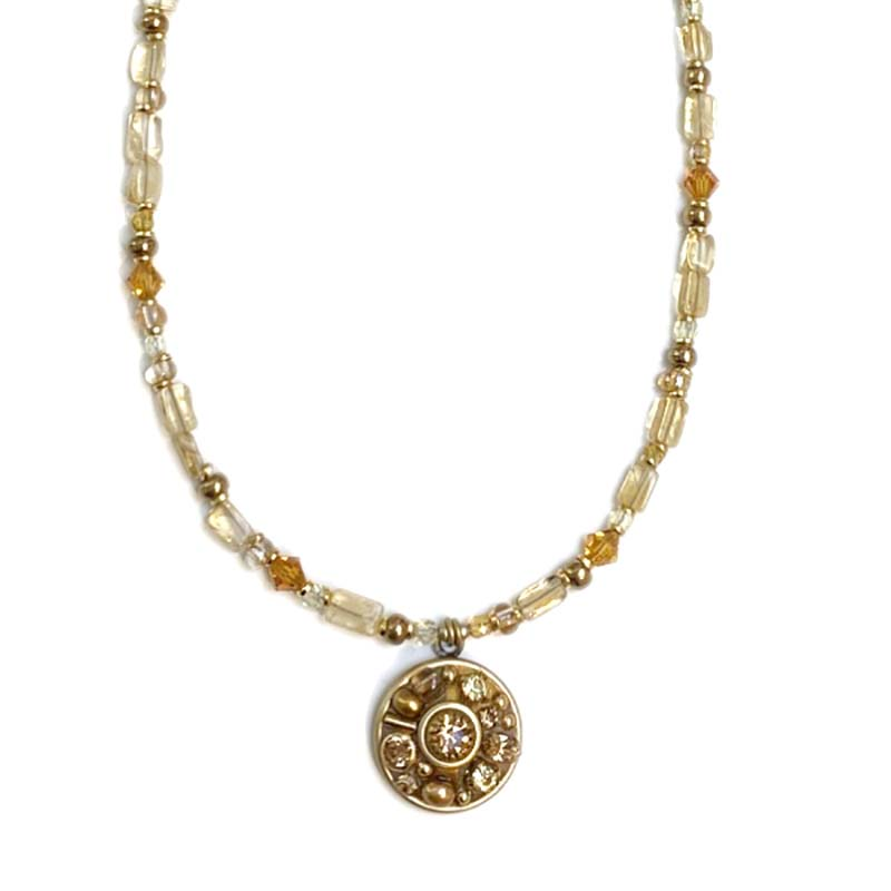 Citrine Round Pendant on Beaded Chain II