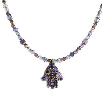 Purple Crystal Mosaic Small Hamsa Necklace