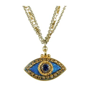 Deep Blue and Gold Evil Eye Necklace