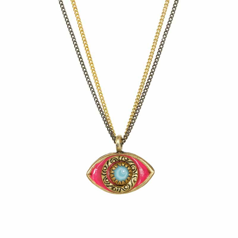 Mini Pink and Turquoise Eye Necklace