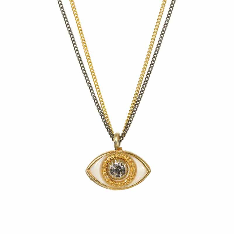 Mini White and Gold Eye Necklace