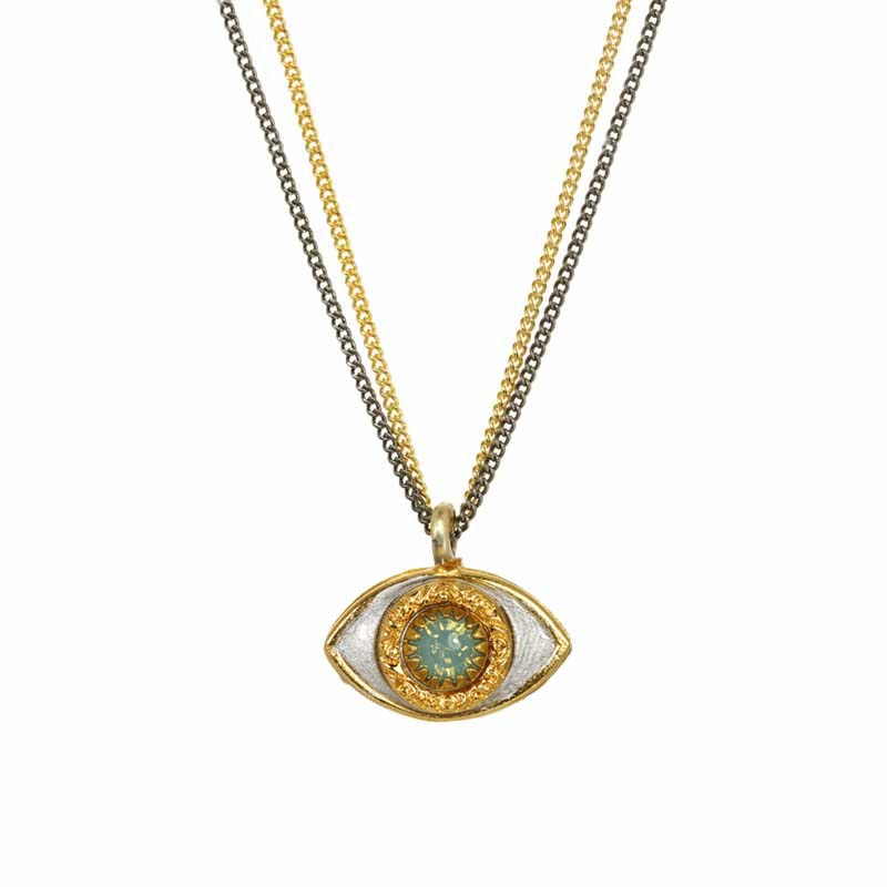 Mini Teal and Gold Eye Necklace
