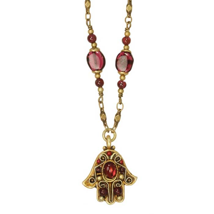 Garnet and Gold Small Hamsa Necklace