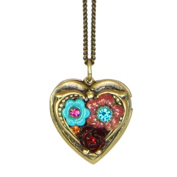 Tropical Flower Heart Locket Necklace