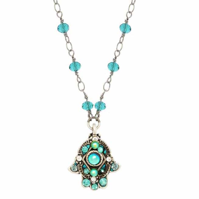 Bright Blue Hamsa Necklace