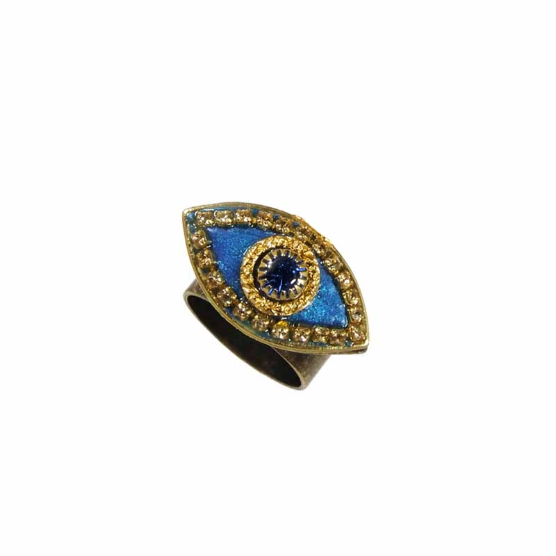 Deep Blue and Gold Evil Eye Ring