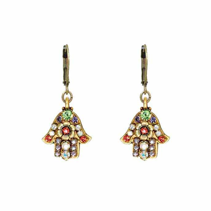 Small pastel floral hamsa earrings