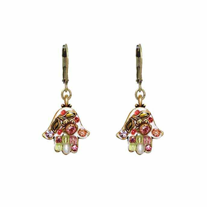 Pearl Blossom Hamsa Earrings