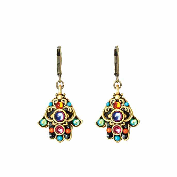 Small Kaleidoscope Hamsa Earrings