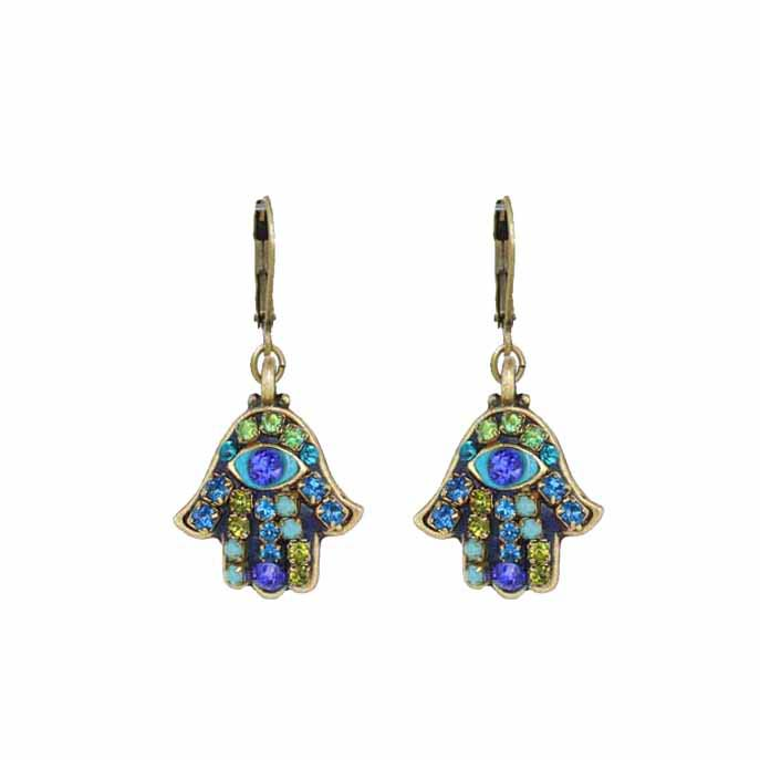 Small green/blue crystal & evil eye hamsa earrings