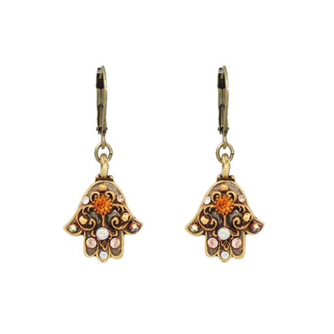 Small Tan and Gold Hamsa Earrings