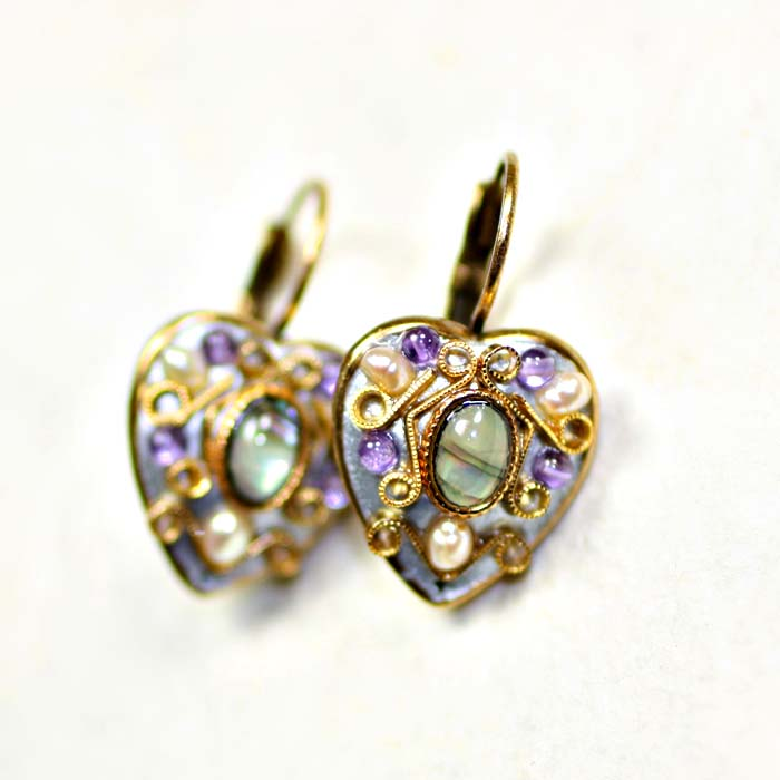 Purple Royal Heart Earrings