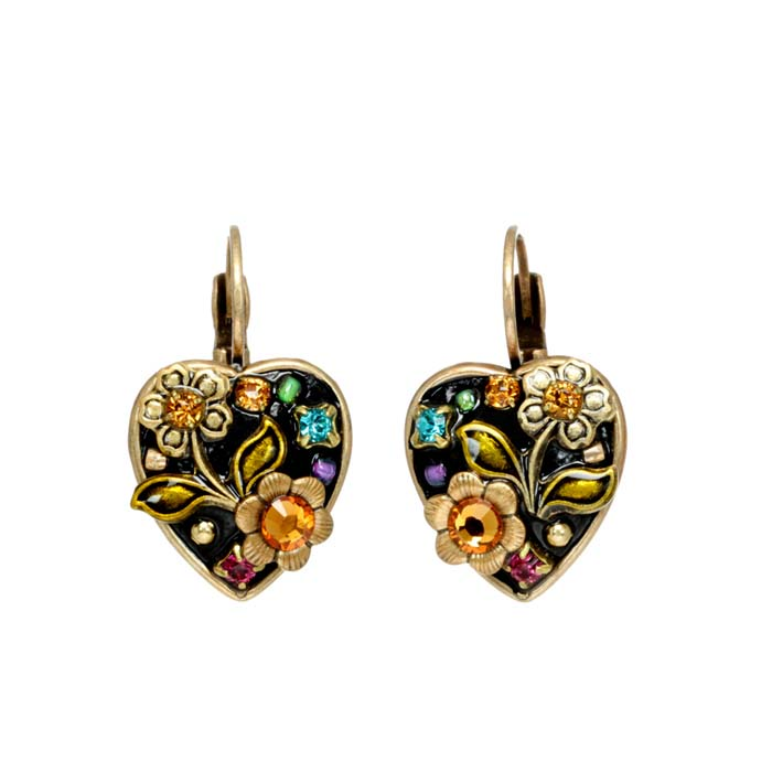 Midnight Garden Heart Earrings