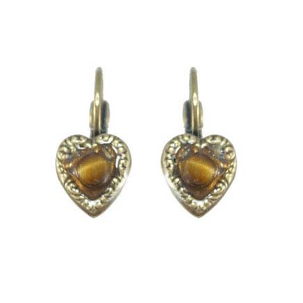 Bronze Heart Lever Back Earrings