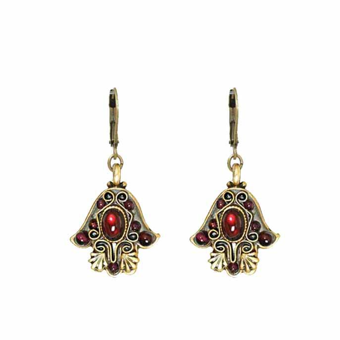 Garnet Hamsa Earrings