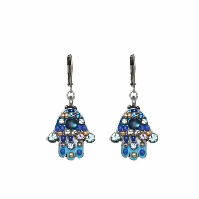 Blue Multi-Bright Hamsa Earring