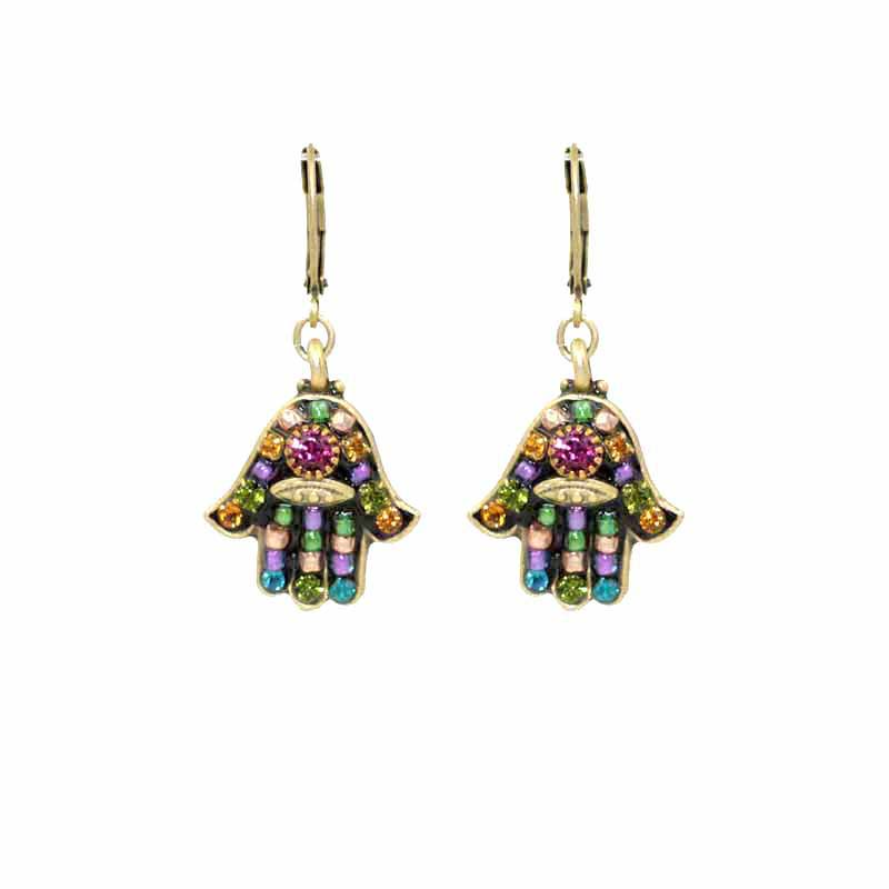 Small dark multibright hamsa earrings