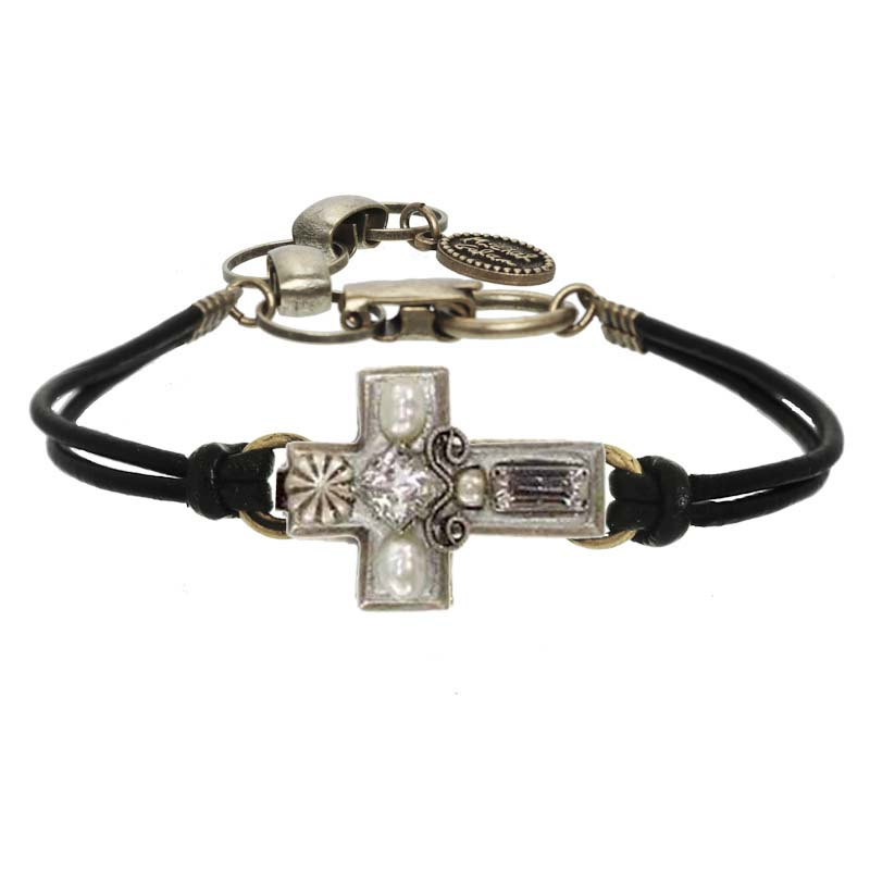 Small silver pearl cross bracelet on leather strap