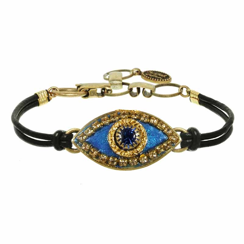 Deep Blue and Gold Evil Eye Bracelet