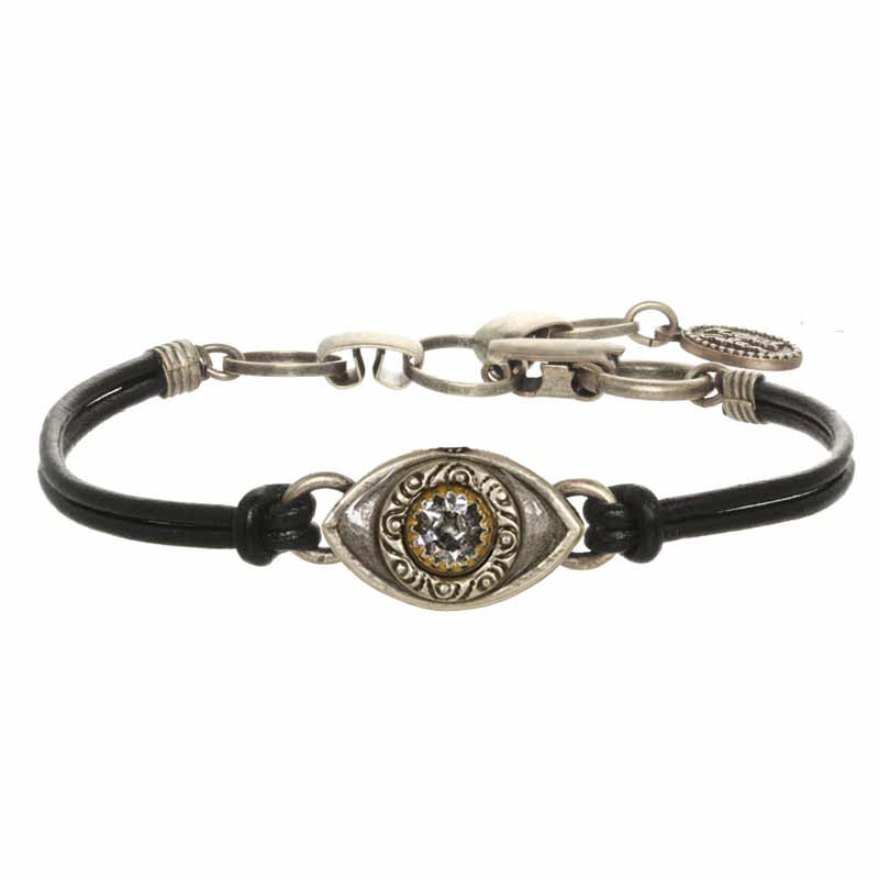 Mini Silver and Crystal Evil Eye Bracelet