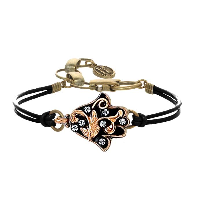 Black and Gold Leaves Hamsa Bracelet
