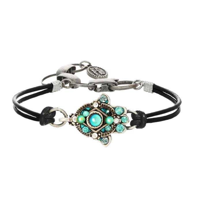Green Glass Hamsa Bracelet