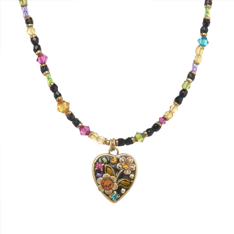 Midnight Garden Heart I Necklace