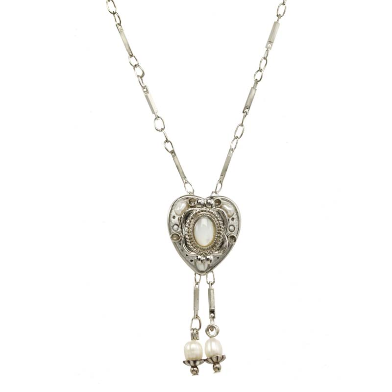 Silver Mother Pearl Heart Necklace
