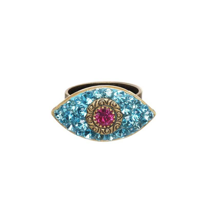 Dazzling Blue & Pink Eye Ring