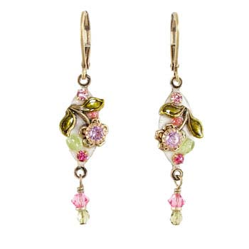 Pearl Blossom Dangling Earrings