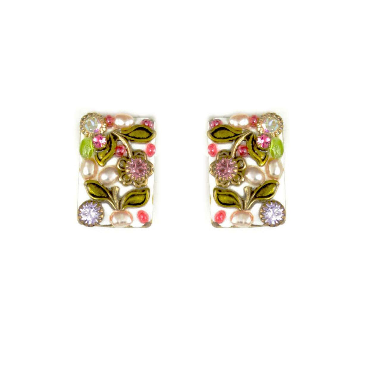 Pearl Blossom Small Rectangle Earrings