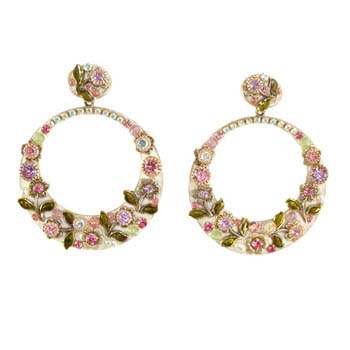 Pearl Blossom Hoop Earrings