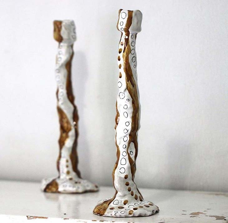 White and Gold Ceramic Candlesticks