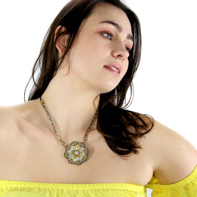 Crystal Clear Large Flower Necklace