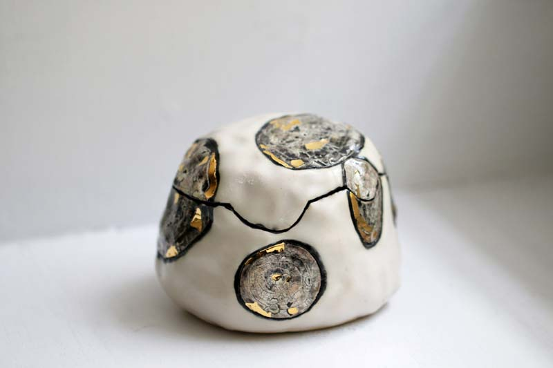 White and Gold Stoneware Box