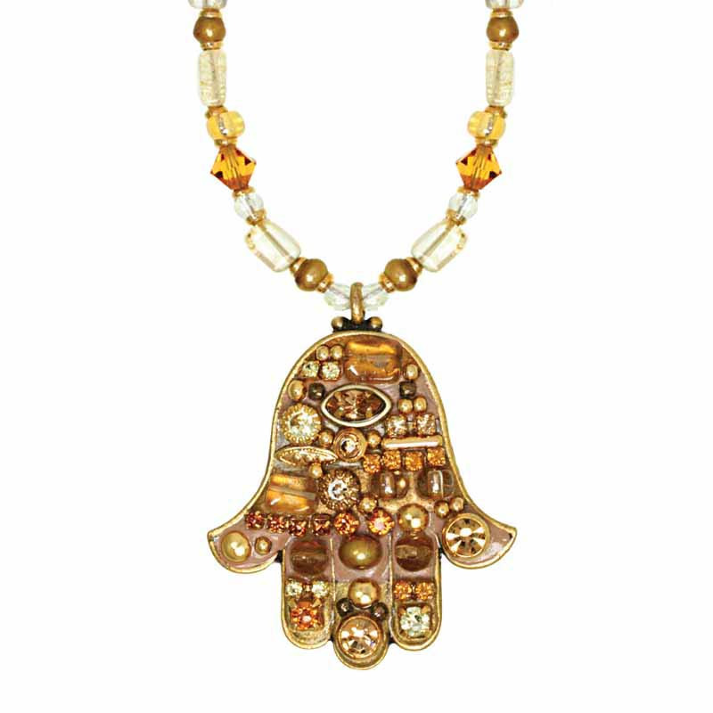 Gold Crystal Mosaic Hamsa Necklace