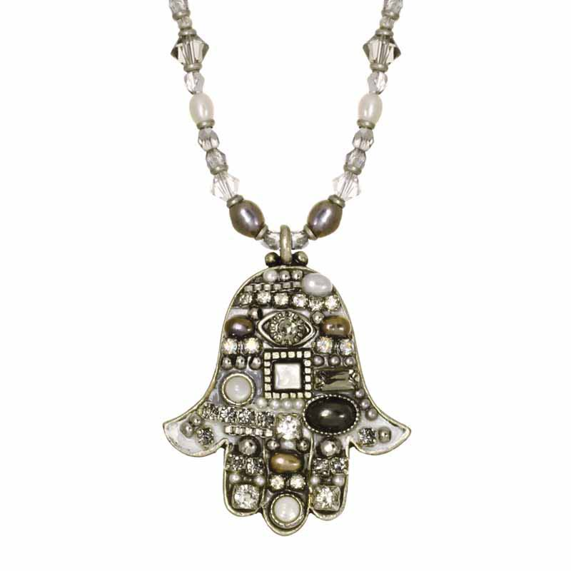 Silver Crystal Mosaic Hamsa Necklace