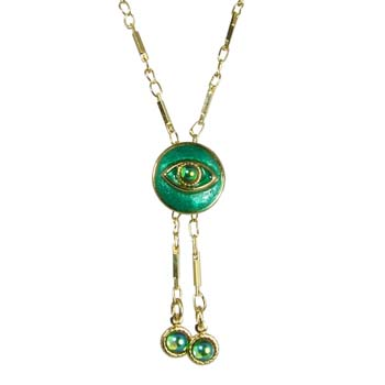 Teal Eye Circle Necklace