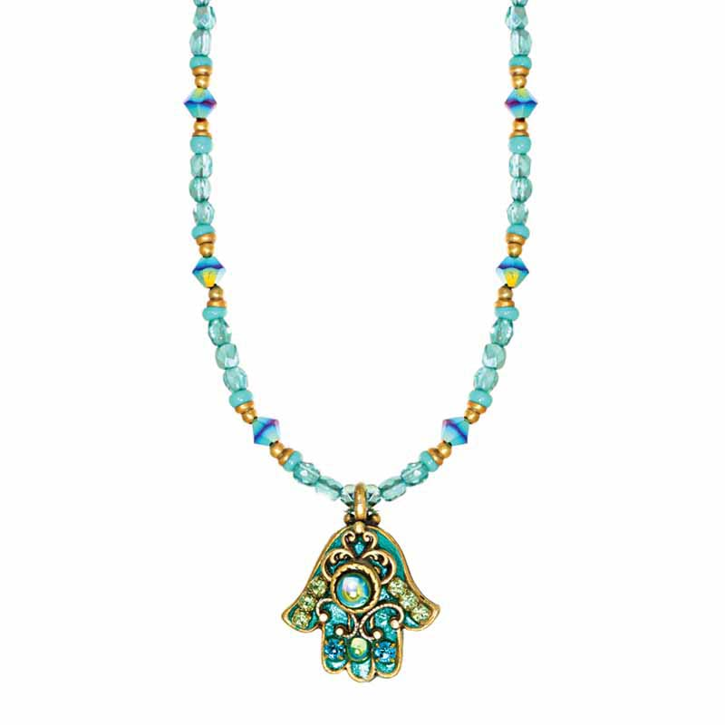 Glowing Green Small Hamsa Necklace