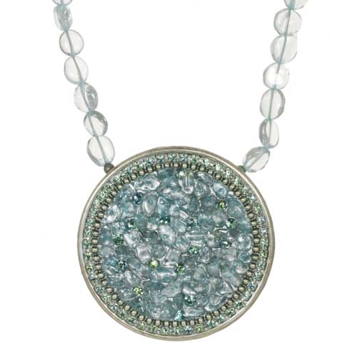 Aquamarine Circle Necklace on Beaded Chain