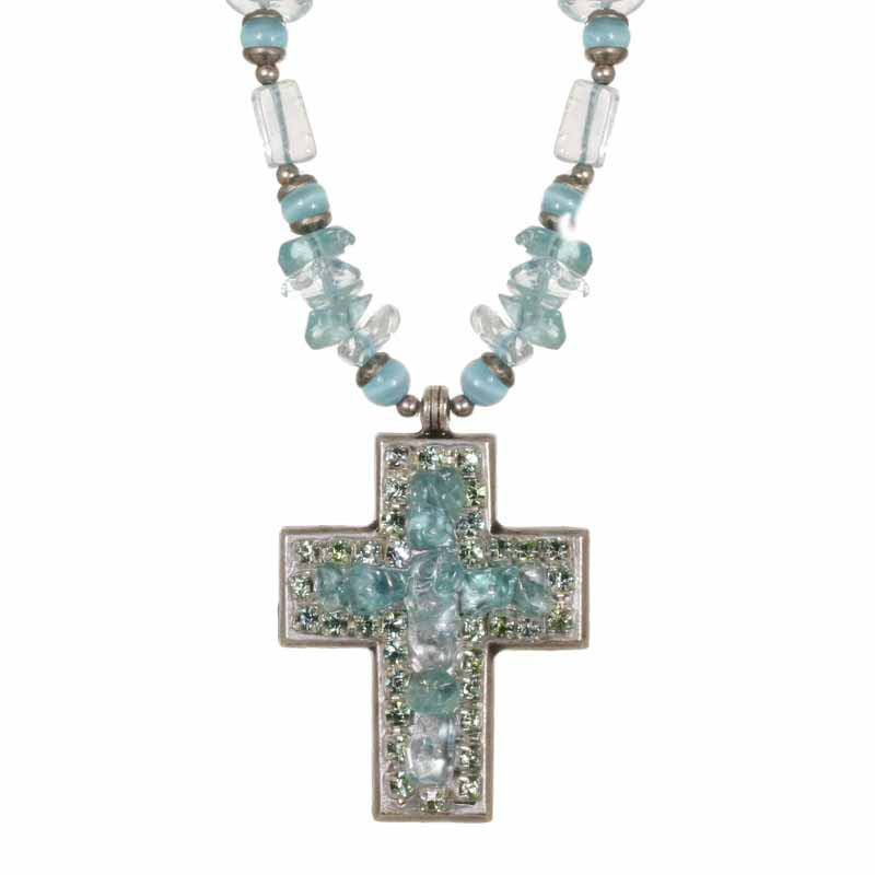 Aquamarine Medium Cross Necklace