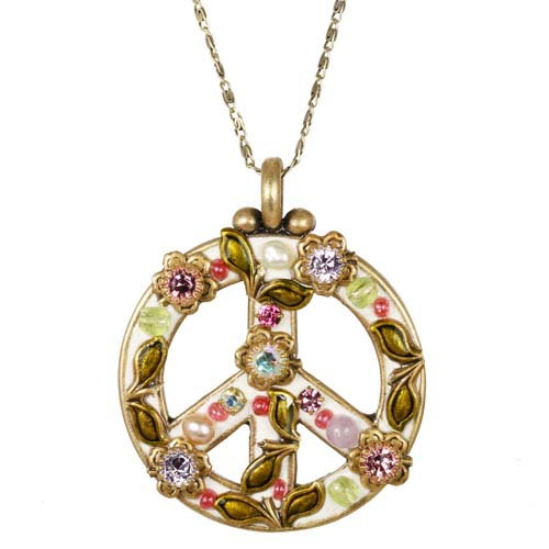 Pearl Blossom Peace Sign Necklace