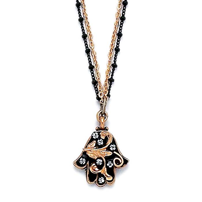 Black and Gold Leaves Small Hamsa Necklace