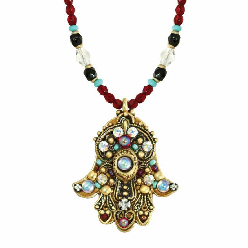 Opalescent Crystal Hamsa Necklace