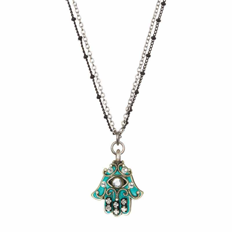 Aqua and Crystal Eye Small Hamsa Necklace