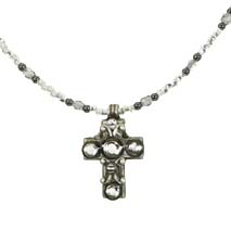 Small Crystal Silver Cross Necklace