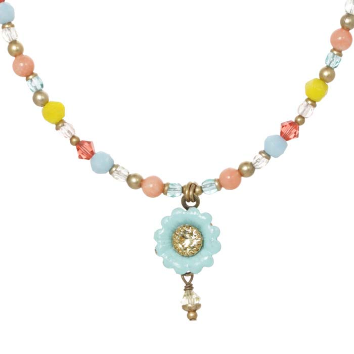 Pastel Floral Necklace on Beaded Chain