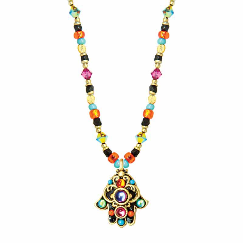 Kaleidoscope Small Hamsa Necklace