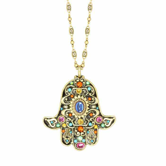 Kaleidoscope Medium Hamsa Necklace
