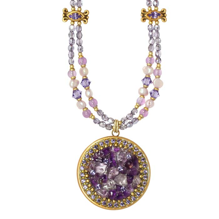 Violet Circle Necklace on Double Beaded Chain